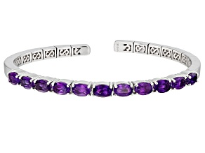 Purple Amethyst Rhodium Over Sterling Silver Bracelet 4.50ctw