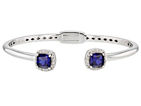 Blue Lab Created Sapphire Rhodium Over Sterling Silver Cuff Bracelet 3.98ctw