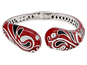 White Topaz Red And Black Enamel Rhodium Over Sterling Silver Bracelet 0.25ctw