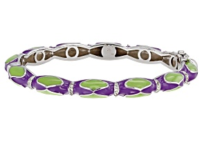 White Topaz Purple And Green Enamel Rhodium Over Sterling Silver Bangle Bracelet 0.32ctw