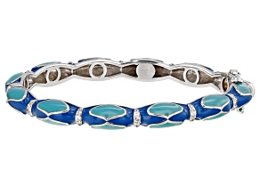 White Topaz Blue Enamel Rhodium Over Sterling Silver Bangle Bracelet 0.32ctw