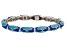 White Topaz Blue Enamel Rhodium Over Sterling Silver Bangle Bracelet 0.32ctw