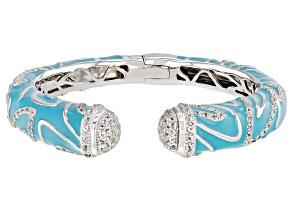 White Topaz Blue Enamel Rhodium Over Sterling Silver Bracelet 2.84ctw