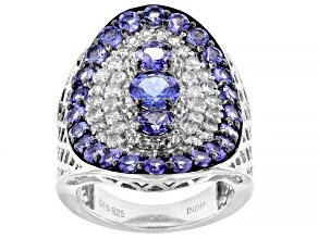 Blue Tanzanite Rhodium Over Sterling Silver Ring 5.14ctw