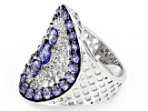 Blue Tanzanite Rhodium Over Sterling Silver Ring 7.59ctw