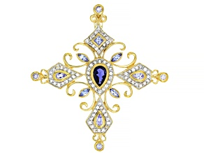 Blue Iolite 18k Yellow Gold Over Sterling Silver Cross Pendant 2.94ctw