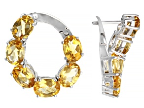 Yellow Citrine Rhodium Over Sterling Silver Earrings 7.00ctw