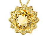 Yellow Citrine 18k Yellow Gold Over Sterling Silver Pendant With Chain 6.25ctw
