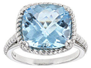 Blue Topaz Rhodium Over Sterling Silver Ring 7.20ctw