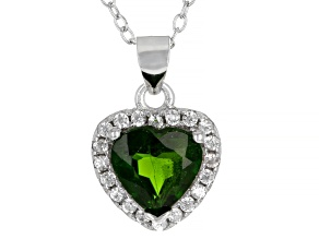 Chrome Diopside  Rhodium Over Sterling Silver Pendant 1.38ctw