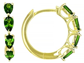 Russian Chrome Diopside 18k Yellow Gold Over  Silver Hoop Earrings 1.51ctw