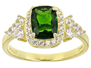 Chrome Diopside 18k Yellow Gold Over Silver Ring 2.03ctw
