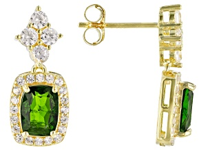 Chrome Diopside 18k Yellow Gold Over Sterling Silver Earrings 2.55ctw