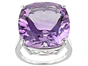 Pink Amethyst Rhodium Over Sterling Silver Ring 15.00ctw