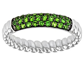 Green Chrome Diopside Rhodium Over Sterling Silver Ring 0.42ctw