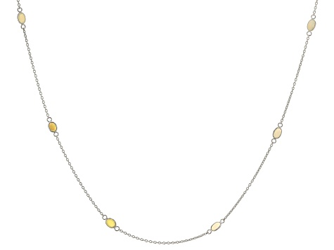 Ethiopian Opal Rhodium Over Sterling Silver Station Necklace 3.50ctw