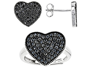 Black Spinel Rhodium Over Sterling Silver Heart Ring And Earrings Set 1.92ctw