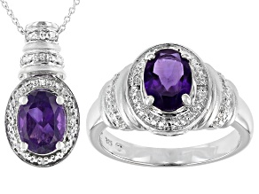 Purple Amethyst Rhodium Over Sterling Silver Ring And Pendant Set 2.12ctw