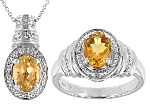Yellow Citrine Rhodium Over Sterling Silver Ring And Pendant Set 2.12ctw