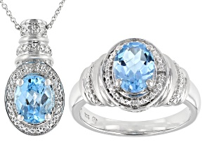 Blue Topaz Rhodium Over Sterling Silver Ring And Pendant Set 3.02ctw