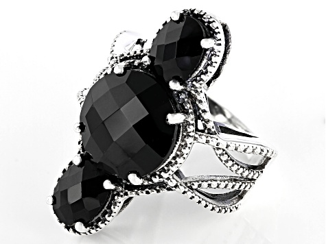 Black Spinel Sterling Silver Ring 9.50ctw