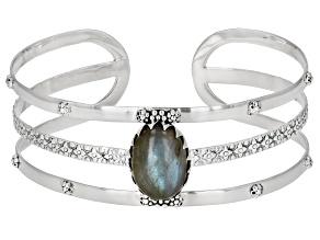 Gray Labradorite Sterling Silver Cuff Bracelet 9.50ctw
