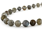 Gray Labradorite Bead Sterling Silver Necklace 150.00ctw