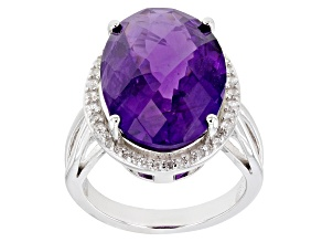 Purple Amethyst Rhodium Over Sterling Silver Ring 8.40ctw