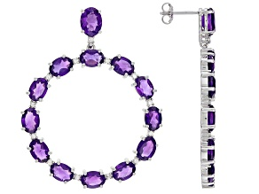 Purple Amethyst Rhodium Over Sterling Silver Earrings 15.50ctw
