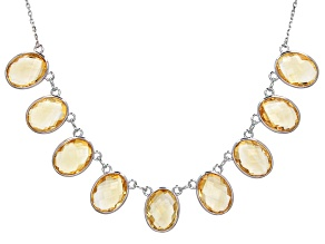 Yellow Citrine Rhodium Over Sterling Silver Necklace 52.00ctw