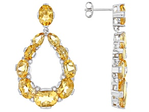 Yellow Citrine Rhodium Over Sterling Silver Earrings 15.20ctw