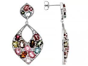 Multi Tourmaline Rhodium Over Sterling Silver Earrings 8.70ctw
