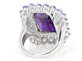 Purple Amethyst Rhodium Over Sterling Silver Ring 15.28ctw