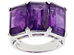 Purple Amethyst Rhodium Over Sterling Silver Ring 14.25ctw