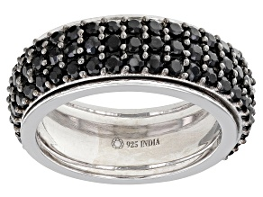 Black Spinel Rhodium Over Sterling Silver Spinner Ring 3.24ctw