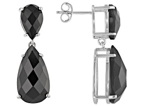 Black Spinel Rhodium Over Sterling Silver Earrings 20.50ctw
