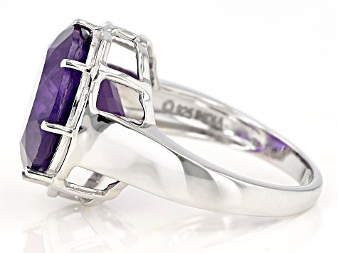 Purple Amethyst Rhodium Over Sterling Silver Ring 8.00ctw