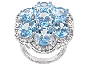 Sky Blue Topaz Rhodium Over Sterling Silver Ring 21.75ctw