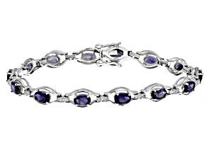 Blue Iolite Rhodium Over Sterling Silver Bracelet 5.80ctw