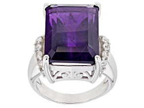 Purple African Amethyst Rhodium Over Sterling Silver Ring 15.65ctw