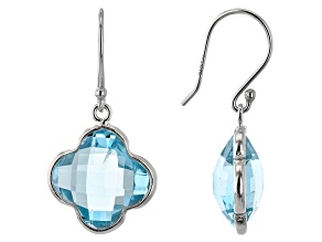 Topaz Rhodium Over Sterling Silver Earring 12ctw