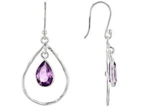 Amethyst Sterling Silver Dangle Earrings 3.20ctw