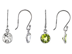 Peridot & White Topaz Rhodium Over Silver Earrings Set of 2 3.10ctw