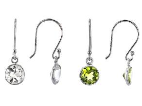 Peridot & White Topaz Rhodium Over Silver Earrings Set of 2 3.10ctw