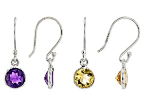 Citrine &  Amethyst Rhodium Over Silver Earrings Set of 2 3.20ctw