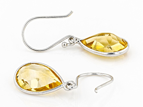 Citrine Rhodium Over Silver Earrings 4.70ctw