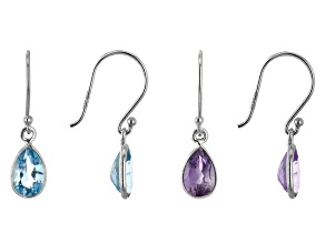 Amethyst & London Blue Topaz Rhodium Over Silver Earrings Set of 2 3.70ctw