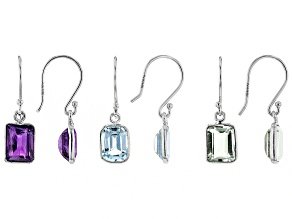 Multi-Gemstone Rhodium Over Silver Earrings Set of 3 8.00ctw