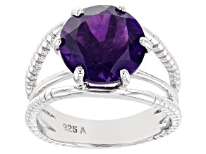 Purple African Amethyst Rhodium Over Sterling Silver Ring 4.20ct