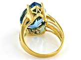 Swiss Blue Topaz 18k Yellow Gold Over Silver 11.50ctw
